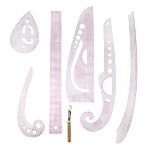 6pcs Drawing Comma Line Straight French Curve Ruler Set For Tailoring