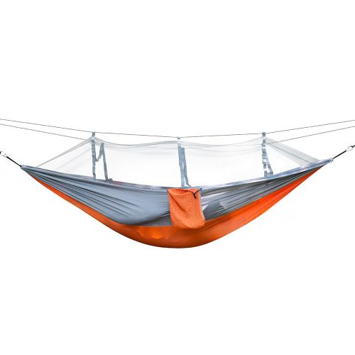 Portable Outdoor Camping Hammock Swing Sleeping Hanging Bed With Mosquito Mesh Orange & Gray