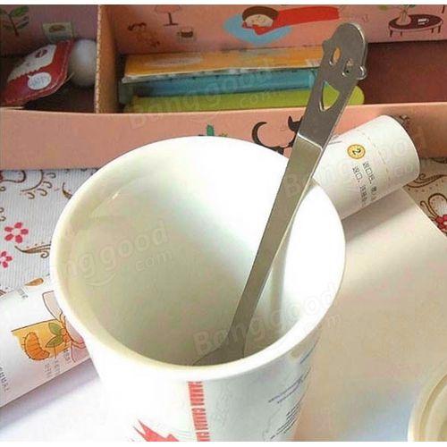 KCASA 1Pc Coffee Tea Spoon Milk Mixing Scoop Dinnerware Stainless Steel Ice-cream Scoop Dinner Cutlery Smile Face Kitchen Tools