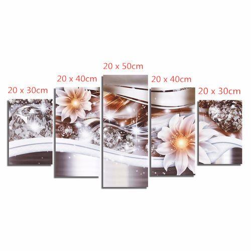 1Set/5PCS Diamond Art Flowerr Canvas Painting Picture Print Home Wall Decor Unframed