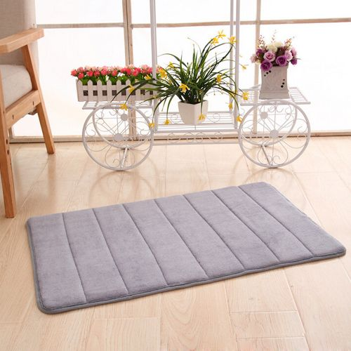 Memory Foam Mat Absorbent Slip-resistant Pad Bathroom Shower Bath Mats Gray