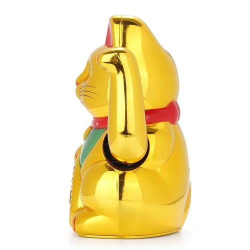 16cm Golden Chinese Fortune Wealth Lucky Waving Cat Beckoning Maneki Feng Shui