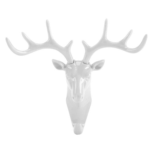 Creative Deer Head Self Adhesive Wall Hook Hanger Key Bag Holder Organizer Home Decor(White)