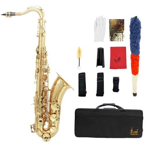 LADE Brass Bb Tenor Saxophone Sax Carved Pattern Pearl-