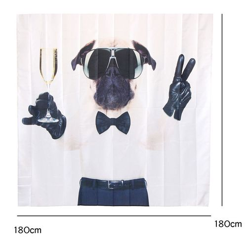 71x71'' Polyester Waterproof Dog Champagne Bathroom Fabric Shower Curtain + Hook
