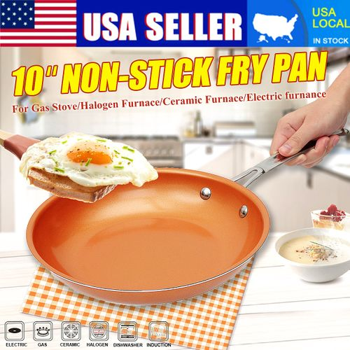 10'' Non-stick Round Copper Frying Pan Aluminum Alloy Ceramic Coating