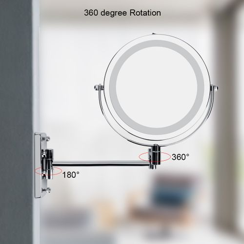 LED Wall Mount Makeup Mirror 360 Degree Rotate Swivel Lighted Mirror Bathroom Bedroom