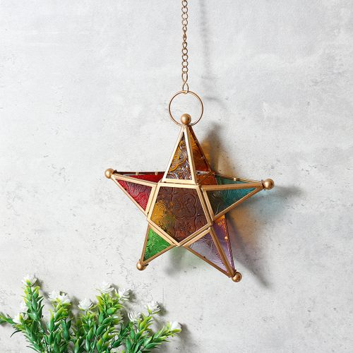 Multicolour Glass Star Tea Light Candle Holder Hanging Candlestick Lighting