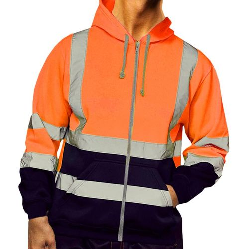 4XL Reflective Stripe Jacket Men High Visibility Safety Coat
