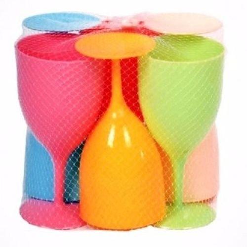 Cleo Multicoloured Wine Plastic Cup - 6pcs