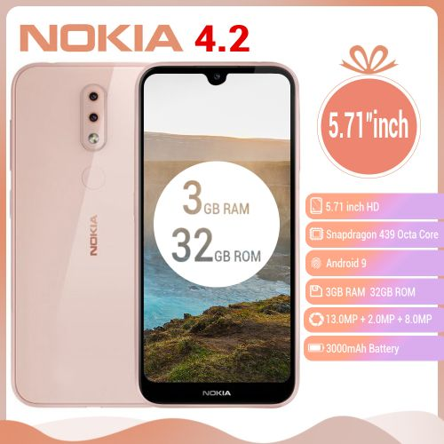 "4.2, 5.71"" Inches (3GB, 32GB ROM), Android 9.0, (13MP+2MP)+ 8MP 3000mAh 4G LTE Smartphone - Pink"