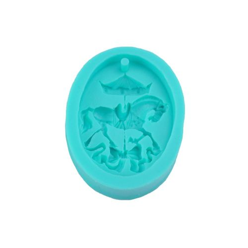 Cute Carousel Cake Silicone Mold Chocolate Moulds Decoration Tools Green