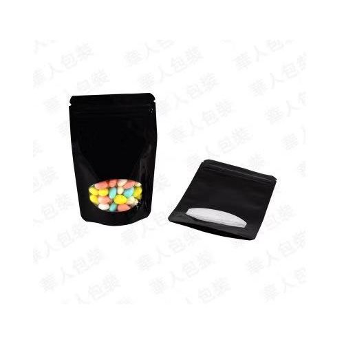 Resealable Packaging Pouch Black Window Food Bags