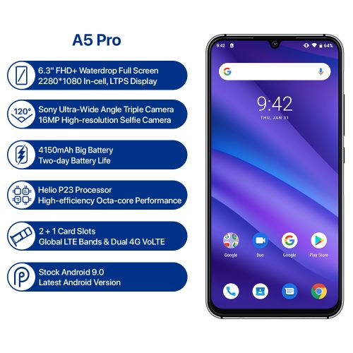 A5 Pro 6.3' FHD+ Waterdrop Screen (4GB, 32GB ROM) Android 9.0 16MP Triple Camera Octa Core 4G Smartphone (Global Band)