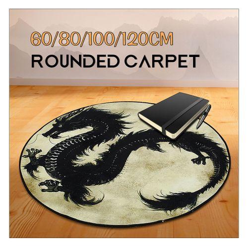 60/80/100/120cm Dragon Printed Round Carpet Living Room Area Rugs Floor Mat