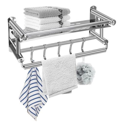 Steel304 Bathroom Towel Rail Wall Mounted Bar Holder Rack Shelf
