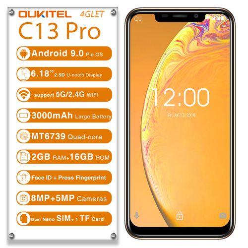 C13 Pro 6.18 Inch 3000mAh Android 9.0 Face Unlock 2GB 16GB MT6739 Quad Core 4G Smartphone