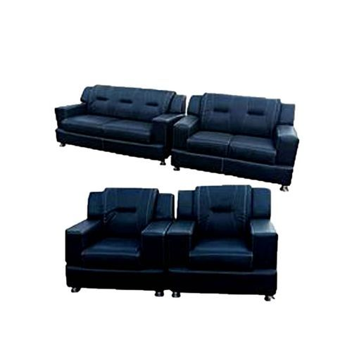 OMEGA FURNITURE NEW BLACK LEATHER 7 SEATER SOFA. '(Delivery IN LAGOS ONLY)