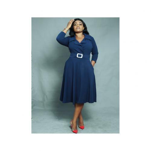 Formal Belted Skater Dress - Navy Blue