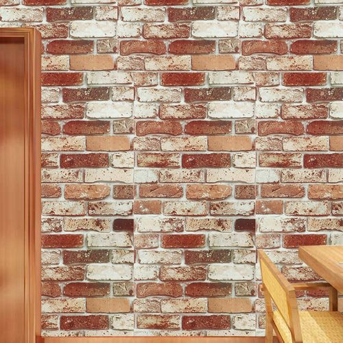 0.45m*1m PVC Adhesive Wallpaper Mixed Color Restoring Ancient Ways Sitting Room Background Wall Brick Wall Paper