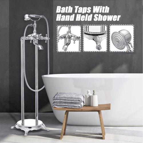 Bath Faucet Brass Standing Tub Mixer Tap Hand Shower