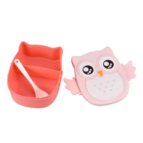 Owl Lunch Box Food Container Storage Box Portable Bento Box- Pink