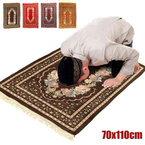 70x110cm Turkish Islamic Muslim Prayer Rug Carpet Mat Chenille Flower Tassel