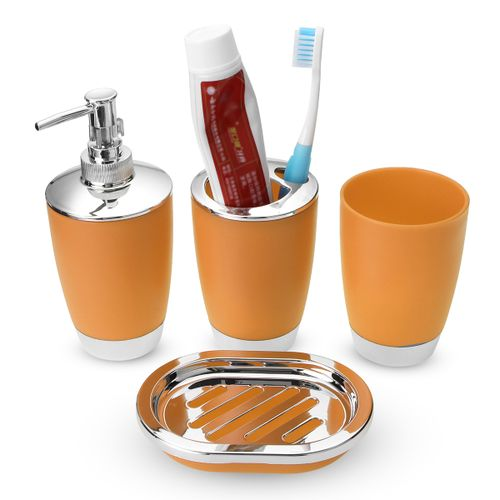 Plastic Bathroom Accessories 4Pcs Suit Washing Cup Toothbrush Holder Soap