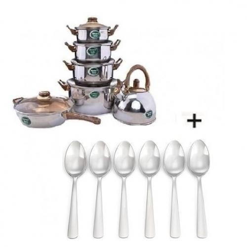 Set Of 4 Pots - 1Fry Pan - Kettle + Free Set Of 6 Silver Dinner Spoon
