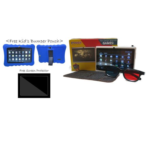 """A32 - 7"""" Kids Android Tablet 8GB, Wi-Fi + Royal Blue Case & Screen Glass"""