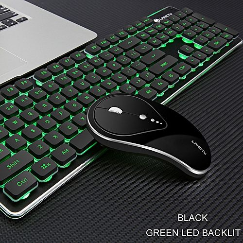 Equivalentt 2.4G Wireless Rechargeable LED Backlit Usb Ergonomic Gaming Keyboard Mouse Sets