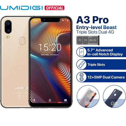 "A3 Pro Global Band 5.7""19:9 FullScreen Smartphone 3GB+32GB Quad Core Android 8.1 12MP+5MP Face Unlock Dual 4G Cell Phone"