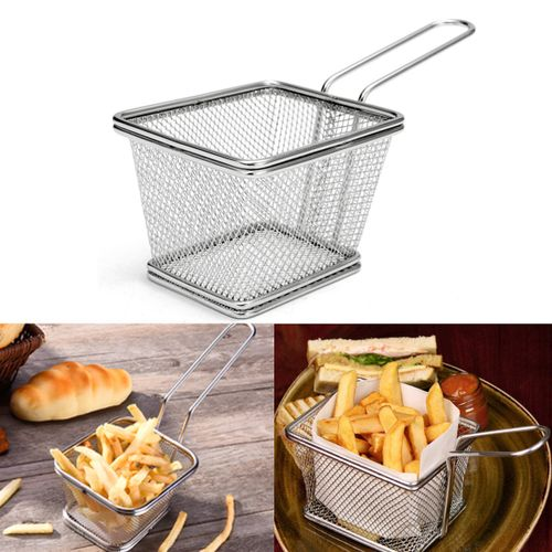 Stainless Steel Mini Square French Deep Fryer Basket Net Mesh Fries Chip