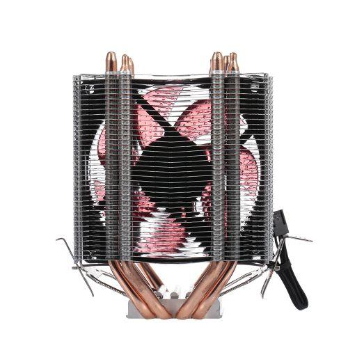 CPU Cooler Fan Heatsink 4 Heatpipe 2 Fans Quiet Heatsink