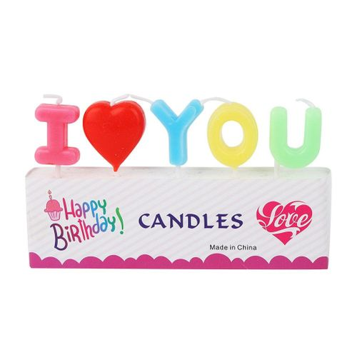 Cake Candles I LOVE YOU Letters Party Celebration Birthday Wedding Romantic Cake Candle Decorations