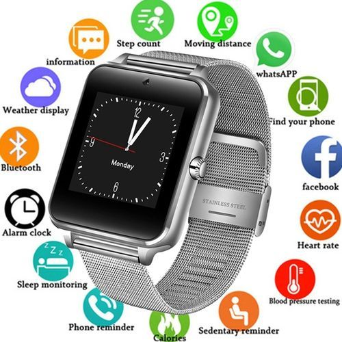 Smart Watch----Metal Strap Bluetooth Wrist Smartwatch Support Sim TF Card Android&IOS Watch Multi-languages--SILVER