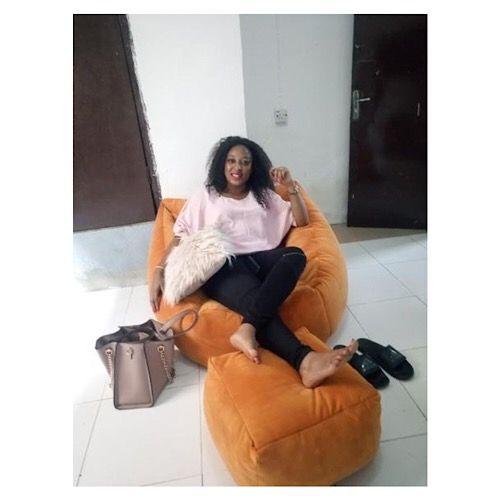 Spikkle Bean Bag Sofa Chair & Leg Rest & 1 Pillow - Orange