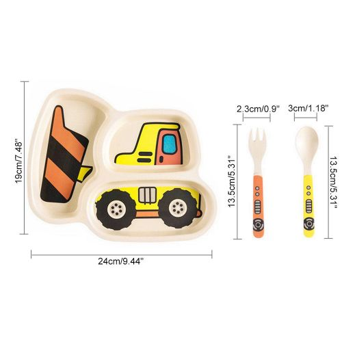 KidsFunwares Me Time Meal Set Cartoon Car Compartment Plate