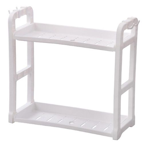 Multi-purpose Plastic Double-layer Kitchen Storage Rack Bathroom Organizer Shelf (White)