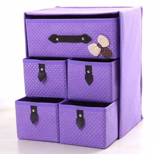 Three Layer Storage Box Five Drawer Non-woven Underwear Cosmetic Makeup Sundries Organizer