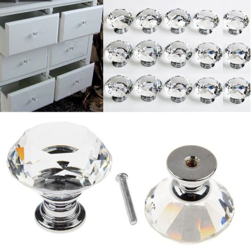 8PC Clear Crystal Glass Door Knobs Cupboard Drawer Cabinet Kitchen Handles