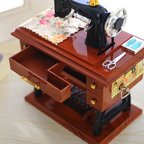 Seioure Vintage Music Box Mini Sewing Machine Style Mechanical Birthday Gift Table Decor As Shown