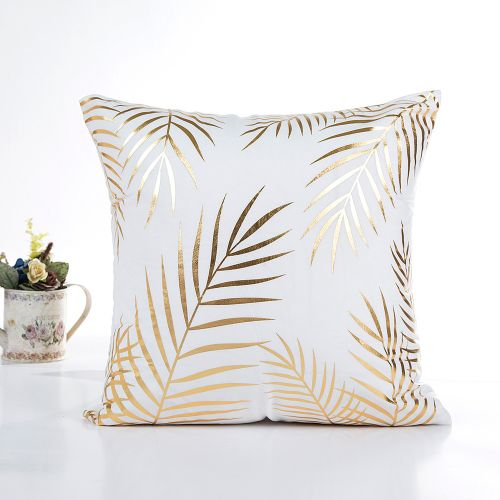 Whiskyky Store Gold Foil Printing Pillow Case Sofa Waist Throw Cushion Cover Home Decor D-White