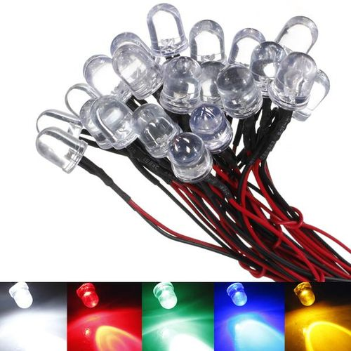 F10 LED Pre Wired Prewired Bulb Pre-Soldered Emitting Diode Light DC 12V 10mm 20cm Line White