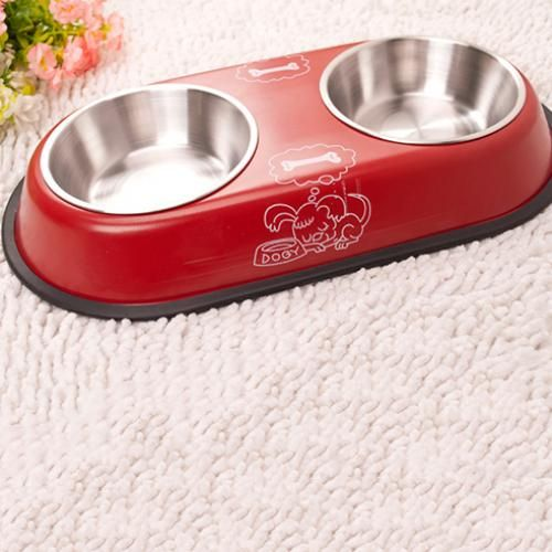 Stainless Steel Pet Double Bowl - Lava Red