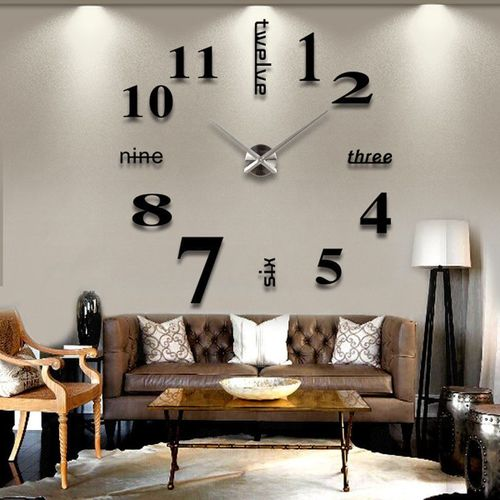 Stick On Wall Clock DIY Large Modern Design Decal 3D Stickers GYM Cafe Office UK