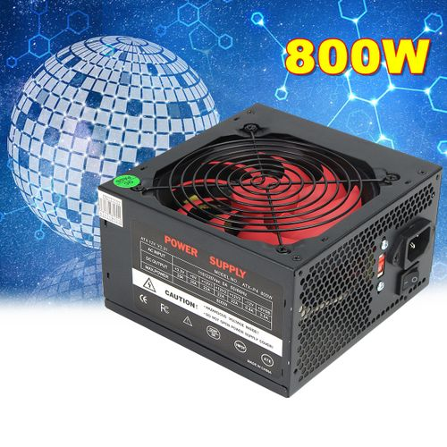 PFC 800W Computer PC Power Supply ATX 24-PIN 12cm Red Cooling Silent Fan(EU Plug)