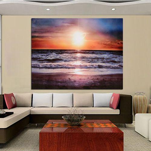 Canvas Prints Sundown Beach Wall Decor Art Oil Home Decor