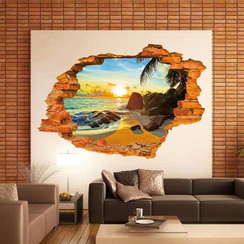 Miico 3D Creative PVC Wall Stickers Home Decor Mural Art Removable Outdoor Seaside Landscape Wall Decals