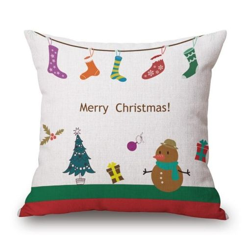 Houseworkhu Christmas Linen Square Throw Flax Pillow Case Decorative Cushion Pillow Cover -Beige